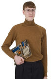 Young man holding motherboard Stock Images