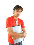 Young man holding notebook Royalty Free Stock Images