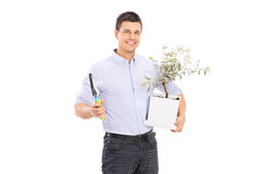 Young man holding an olive tree plant and a spade. Isolated on white background Royalty Free Stock Photography