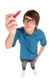 Young man holding pen Stock Photos