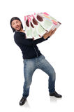 The young man holding plastic bags isolated on white Stock Photography