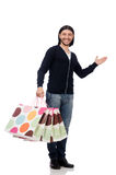 Young man holding plastic bags isolated on white Royalty Free Stock Photography