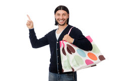 Young man holding plastic bags isolated on white Royalty Free Stock Photos