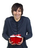 Young man holding plastic drinking cups Stock Image