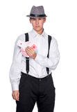Young man holding playing cards Stock Photo