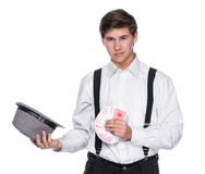 Young man holding playing cards Stock Image