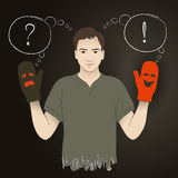 Young man holding puppetry gloves and asking important questions Royalty Free Stock Photography