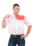 Young man holding red heart Stock Photo