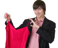 Young man holding red peignoir. Stock Images