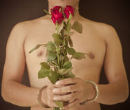 Young man holding red rose Royalty Free Stock Image