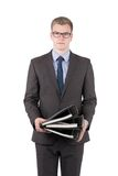 Young man is holding several files Royalty Free Stock Photo