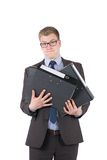 Young man is holding several files Stock Photo