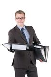 Young man is holding several files Royalty Free Stock Photography