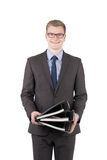 Young man is holding several files Stock Photography