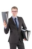Young man is holding several files Royalty Free Stock Images