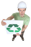 Young man holding sign royalty free stock photos