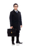 Young man holding suitcase isolated on white Royalty Free Stock Image