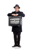 Young man holding suitcase isolated on white Royalty Free Stock Photo