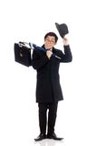 Young man holding suitcase and umbrella isolated Royalty Free Stock Image
