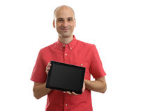Young man holding a Tablet PC. Isolated on white Stock Photo