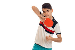 A young man holding a tennis racket Royalty Free Stock Photos