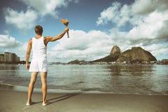 Young Man Holding Torch Rio de Janeiro Royalty Free Stock Photos