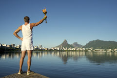 Young Man Holding Torch Rio de Janeiro Royalty Free Stock Photo