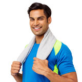 Young Man Holding Towel Around Neck Royalty Free Stock Images