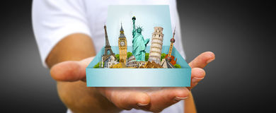 Young man holding travel box in his hand Royalty Free Stock Photo