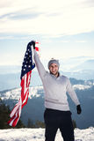 Young man holding USA flag Stock Photo