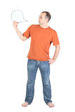 Young man holds a blank card Stock Images