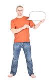 Young man holds a blank card Royalty Free Stock Photography