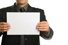 Young the man holds blank signs Stock Image
