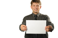 Young the man holds blank signs Royalty Free Stock Image