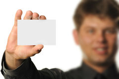 Young the man holds blank signs Stock Images