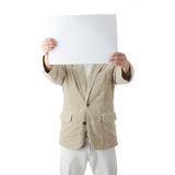 Young the man holds blank signs. Stock Image