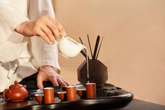 A young man holds a Chinese tea ceremony Royalty Free Stock Photos