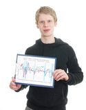 A young man holds a clipboard Royalty Free Stock Photo