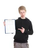 A young man holds a clipboard Stock Images