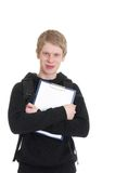 A young man holds a clipboard Royalty Free Stock Photos