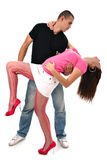 Young man holds his girlfriend's waist isolated Royalty Free Stock Image