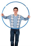 Young man holds sport hoop Stock Image