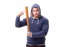 The young man hooligan with baseball bat isolated on white. Young man hooligan with baseball bat isolated on white Stock Image