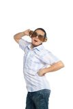 Young man in huge glasses plays the fool Stock Photo