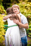 Young man hugging his girlfriend Stock Photography