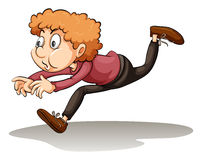 A young man in a hurry. On a white background stock illustration