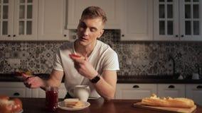 Man in Hurry Eating Breakfast
