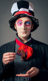 Crazy Hatter. Young man in the image of the Crazy Hatter from Alice's Adventures in Wonderland by Lewis Carroll Stock Photo
