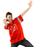 Young Man In A Red T-shirt Stock Photo
