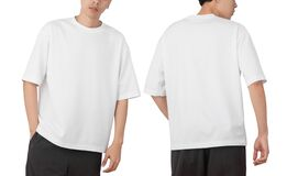 Free Young Man In Blank Oversize T-shirt Mockup Front And Back Used As Design Template, Isolated On White Background Stock Photos - 208367633